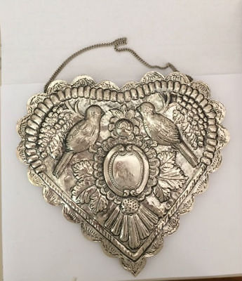 Rare Vintage Heart-shaped Handcrafted 925 Silver Turkish/Persian Wedding Mirror