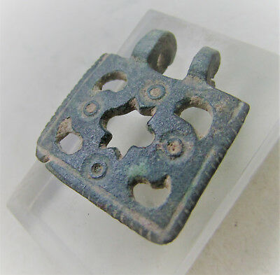 Circa 100-400Ad Roman Era Bronze Openwork Amulet With Ring & Dot Motifs