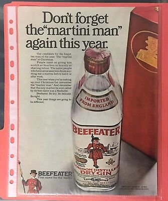 1968 BEEFEATER LONDON DRY GIN First Name for Martini VINTAGE PRINT AD