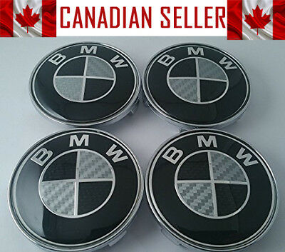 4 Pcs BMW Black & White Carbon Fiber Wheel Center Caps 68mm - Fits all Models