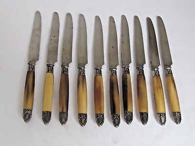 Antique set of 10 Luncheon Knives Horn Handles Silver Caps and Collars M. Morlot