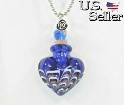 Handmade Cremation Urn Necklace || Blue Art Glass Heart || Jewelry for Ashes