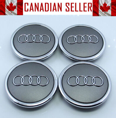 4 Pcs Audi Mat Gray & Chrome Wheel Center Caps 69mm - Fits all Models
