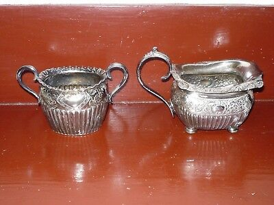 Unidentified British Silver Plated Sugar and Creamer Set