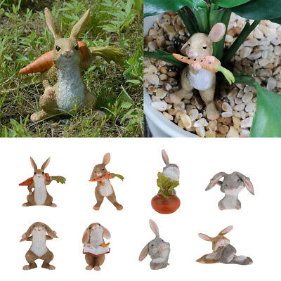 Resin lovely rabbit Hand Painted simulation model Figurine Statue Brown