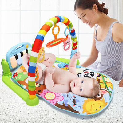 3 In1 Baby Play Rainforest Gym Blankets Pedal Piano Activity Fitness Music Mat