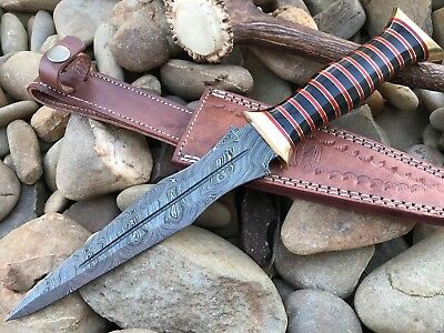 HUNTEX Custom Handmade Damascus 13Inch Long Full Tang Buffalo Horn Hunting Knife