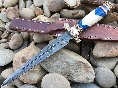 HUNTEX Custom Handmade Damascus 12 Inch Long Full Tang Camel Bone Hunting Dagger