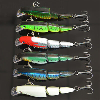 3D Lifelike Fishing Lures Jointed Hard Bait Fishing Tackle Minnow Baits w/ Hook