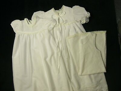 Vintage Madonna Baby Christening Outfit Set Robe Dress Slip Cotton