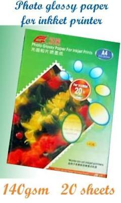 New Pack 20 Sheets x A4 Glossy Photo Paper For Inkjet Printer -140gsm x