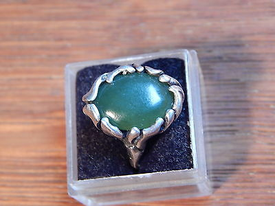 Vintage Nephrite Jade Custom Hand Made Cast Sterling Silver 925 Ring Size 5.5