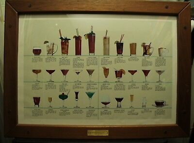 vtg framed bartenders print cocktails bar decor teak wood frame Zombie Pink Lady