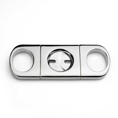Pocket Cigar Cutter Knife COHIBA  Silver Stainless Steel  Double