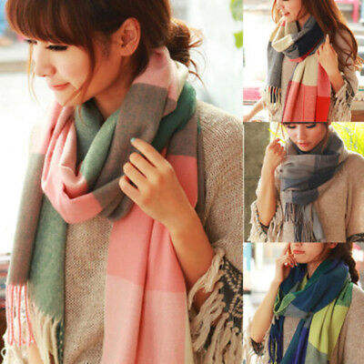 Women Girl Winter Warm Cashmere Plaid Check Long Pashmina Shawl Wrap Scarf Stole