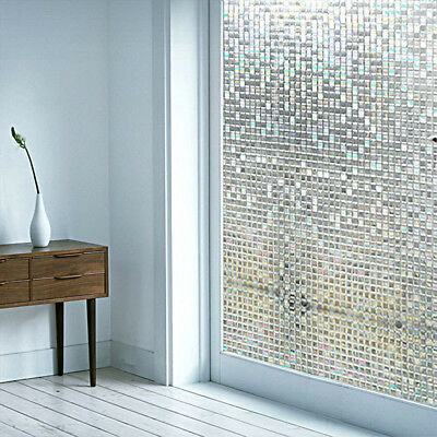 3D Static Cling Home Window Film Stained Glass Paper Frosted Decor Privacy..