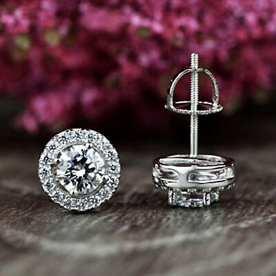 1.00 Ct Round Cut Diamond Halo Stud Earrings For Women's Solid 10k White Gold
