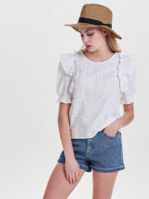 ONLY Short Sleeved Embroidery Anglaise White Frill Top - Size: UK 10