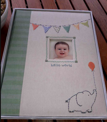 "NEW CR Gibson Baby Boy's ""Hello World"" Memory Book Beutiful! Elephant/Balloon"