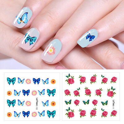 LEMOOC 10 Sheets Nail Water Decals Transfer Stickers Nail Art Stickers Flower