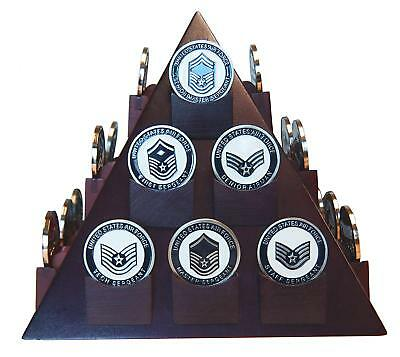 Pyramid Shaped Military Challenge Coin & Poker/Casino Chip Display Solid Wood