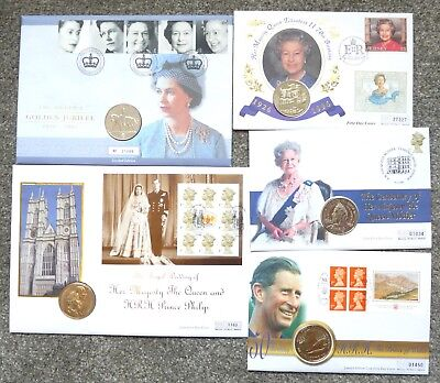 5 X Uk £5.00 Crown Coin Covers 1996 - 1997 -1998 - 2000 - 2002 All Unc