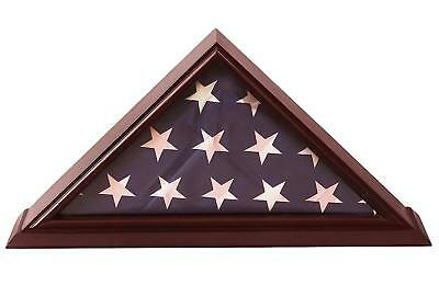 5x9 Flag Display Case Shadow Box (For Burial/Funeral/Veteran Flag) with Cherry