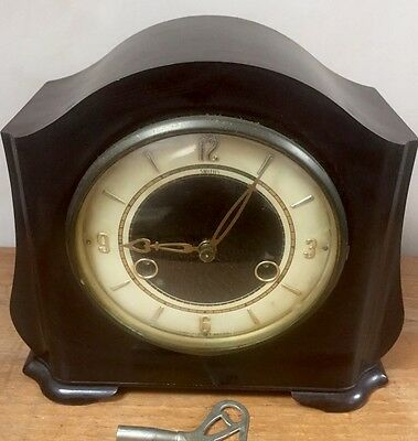 "Smiths Bakelite Case Striking Mantle Clock c1920'  7.5""H 8""W 4""D"