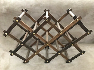 VINTAGE 60'S TIMBER EXPANDABLE Free standing 10 Bottle RACK -