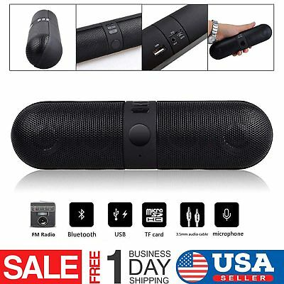 Bluetooth Wireless Pill Shaped Portable Loud Travel Speaker Outdoor TF USB FM