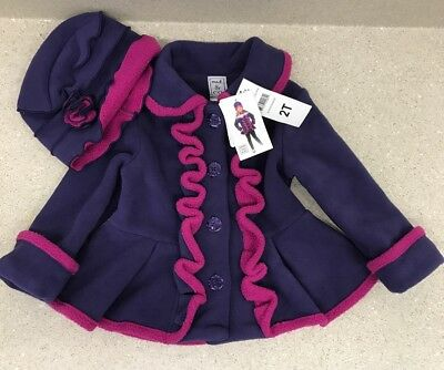 Mack & Co Fleece Girls Jacket Purple Fuschia w Hat 2T Warm Cozy NWT
