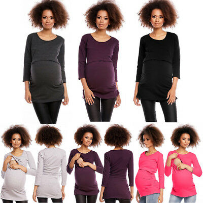 Women Maternity Clothes Breastfeeding Long Sleeve Nursing T-shirt Blouse Top New