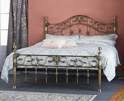 Elizabeth Antique Brass Effect Bed Frame with Brass Finials 4ft 6 & 5ft