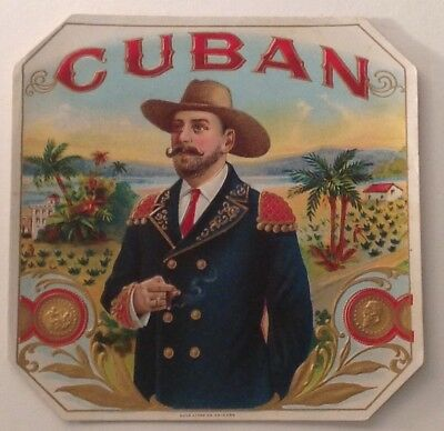 The CUBAN vintage AMERICAN LITHO outer  cigar box label
