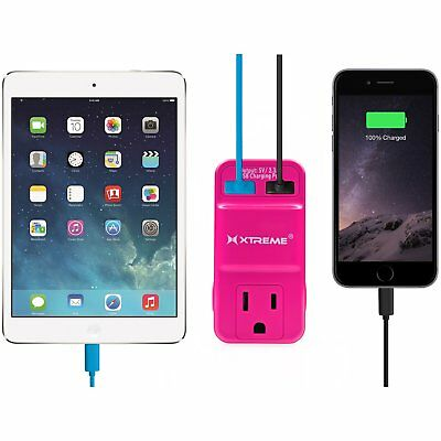 Xtreme Wall Outlet 2 Usb 2.1 Amp Detachable Stand To Hold Devices - Pink 1 Oz