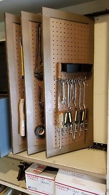 """Tool Organizer Wall Mount Pegboard Panels (12""""x32"""") set of 3, use both sides, ."""