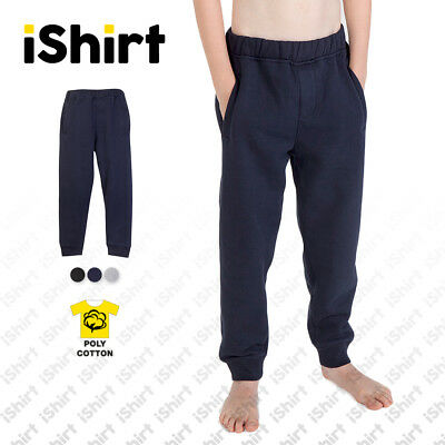 Junior Kids Pants Fleece Track Pants Full Colour Side Pocket Sporty Pants