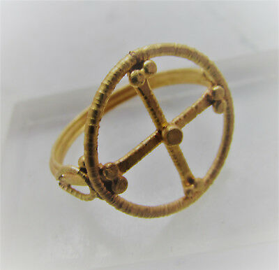 Scarce Circa 600-700Ad Byzantine Gold Openwork Crusaders Ring With Cross Motif