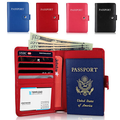 RFID Blocking Passport Holder Travel Wallet Leather Case Cover Securely Holds US