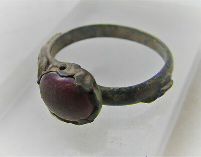 Late Byzantine Era Bronze Ring With Red Stone Insert Authentic Historic Item