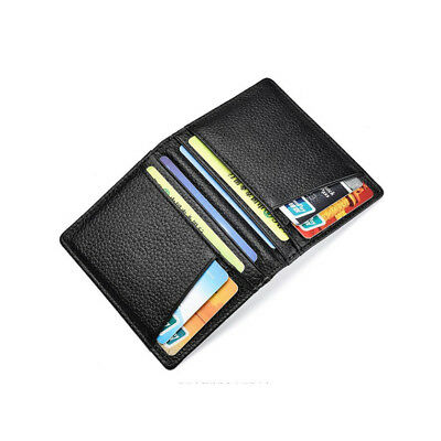 Men Slim Thin Genuine Leather Bifold Id Wallet Money Credit Card Holder 2 Colors