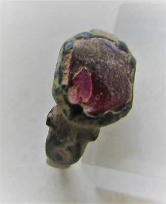 Late Byzantine Period Bronze Ring With Glass Insert