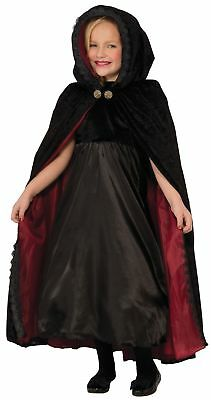 Halloween Adult Gothic Black Velour Effect Cape with Hood and Red Lining
