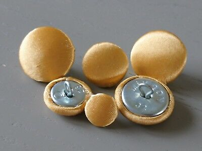 Gold Satin Fabric Buttons, 10mm, 16mm and 20mm. Small Fabric Buttons