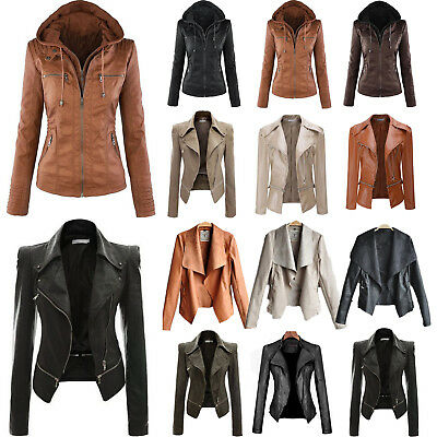 Women's Ladies PU Leather Jacket Flight Coat Zip Up Biker Casual Tops Outfits UK