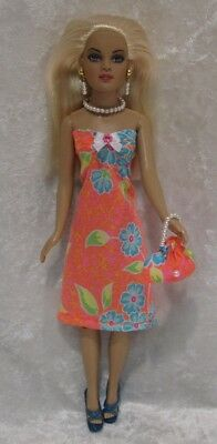 Made to fit TINY KITTY COLLIER  #66,  Dress, Purse & Jewelry,  Handmade Clothes