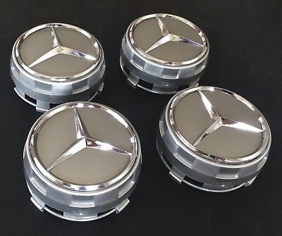 4x SILVER AMG 75 MM Alloy Wheel Centre Caps for Mercedes- Benz Sport Silver