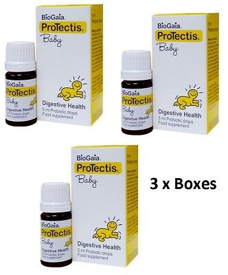3 x BioGaia Boxes / Drops for baby Colic Safe / Effective / Worldwide Shipping