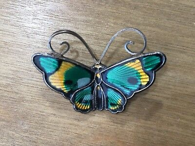 Vtg David Andersen Sterling Enamel Butterfly Pin Brooch Green and Yellow Norway