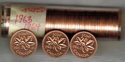 1963,1964,1965 Mixed Roll of 50 1C RD (Prooflike) Canada Cents!